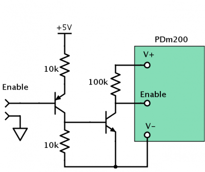 PDm200 Enable circuit for unipolar supply