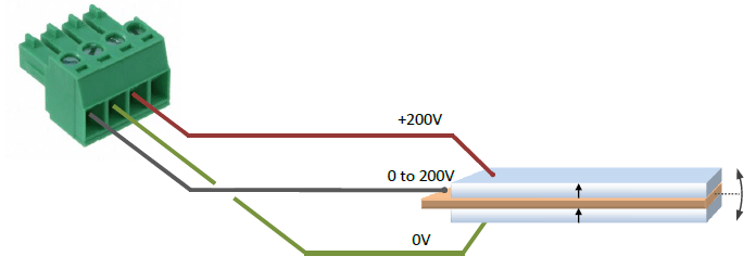 Piezoelectric bender actuator connection to the PD200